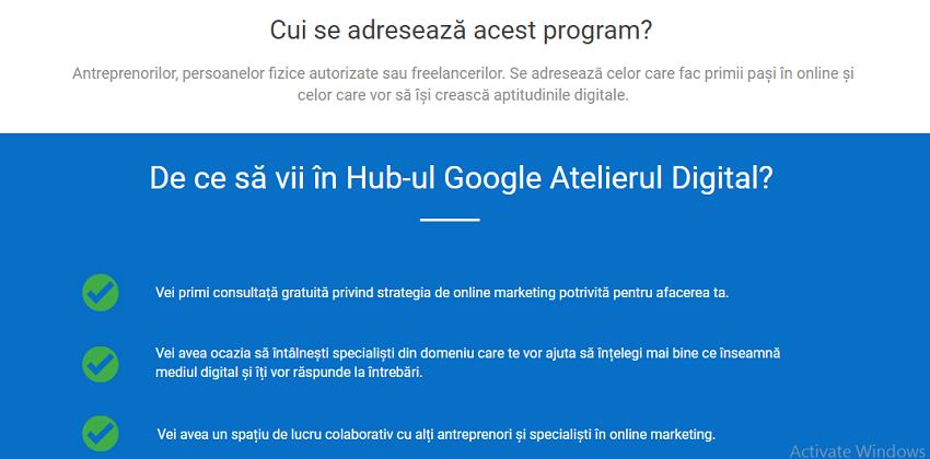 Hub-ul Google Atelierul Digital - succesul in afaceri