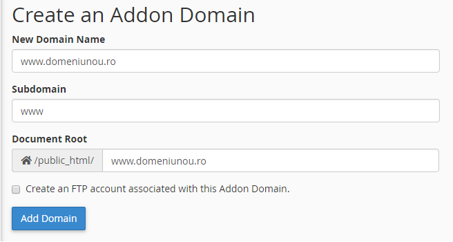 schimbare nume domeniu cPanel Addon Domain ServHost