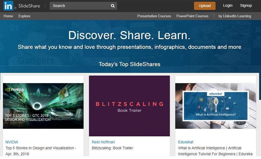 slideshare creare conținut prezentare