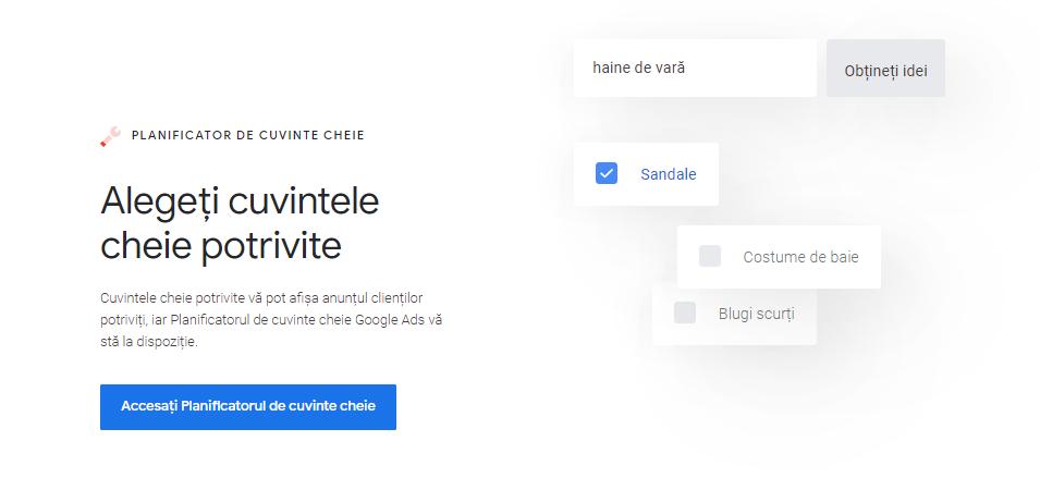 planificatorul de cuvinte cheie de la google